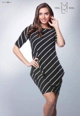 Rebeka csíkos ruha fekete