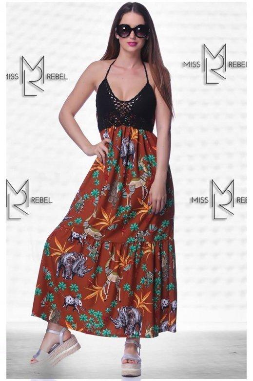 1-022 Capri ruha tégla mintás