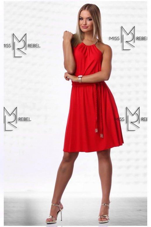 MR 154-1 Adri midi ruha piros