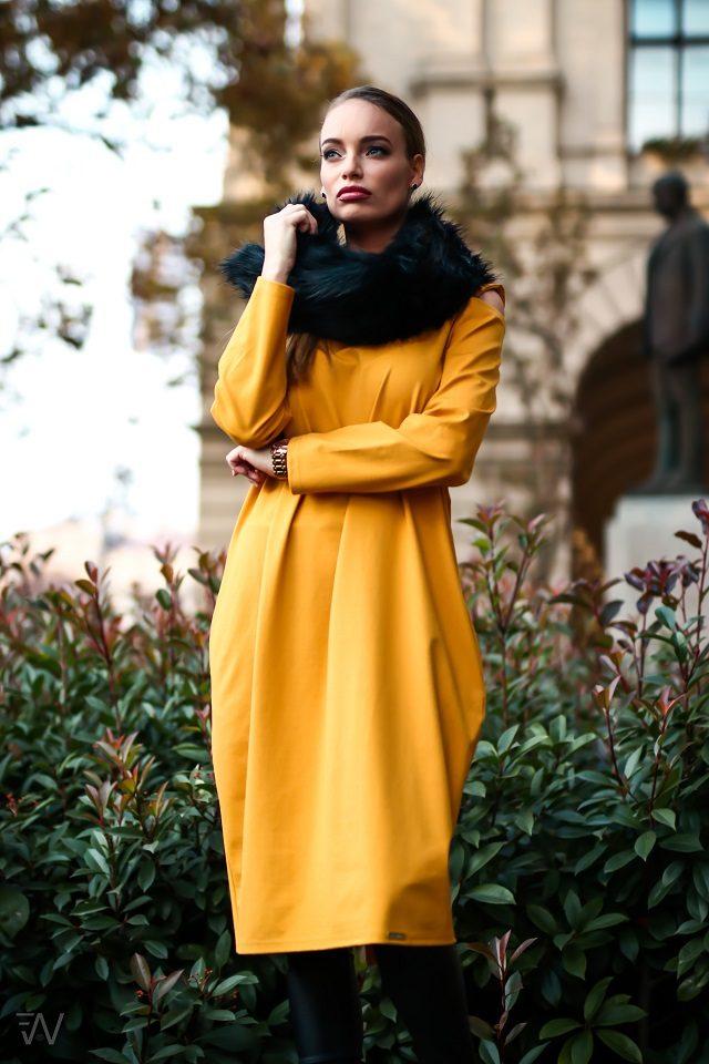 19037 Elizabeth ruha Mustársárga S-M,L-XL,2XL-3XL