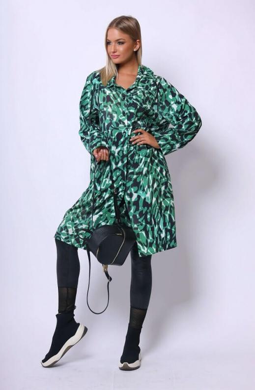 Izmir-kabát-zöld-mintás